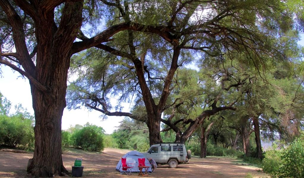 Public campsite in Samburu National Park in Kenya